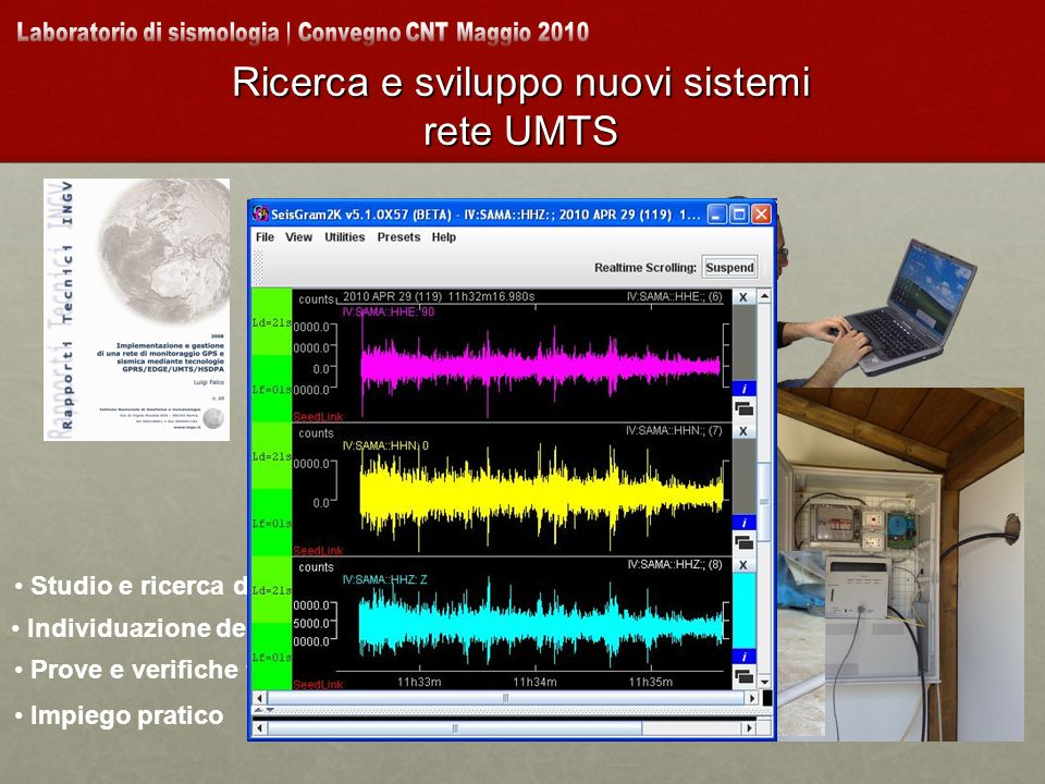 Ricerca e sviluppo nuovi sistemi rete UMTS Individuazione del prodotto Studio e ricerca di mercato Prove e verifiche funzionali Impiego pratico