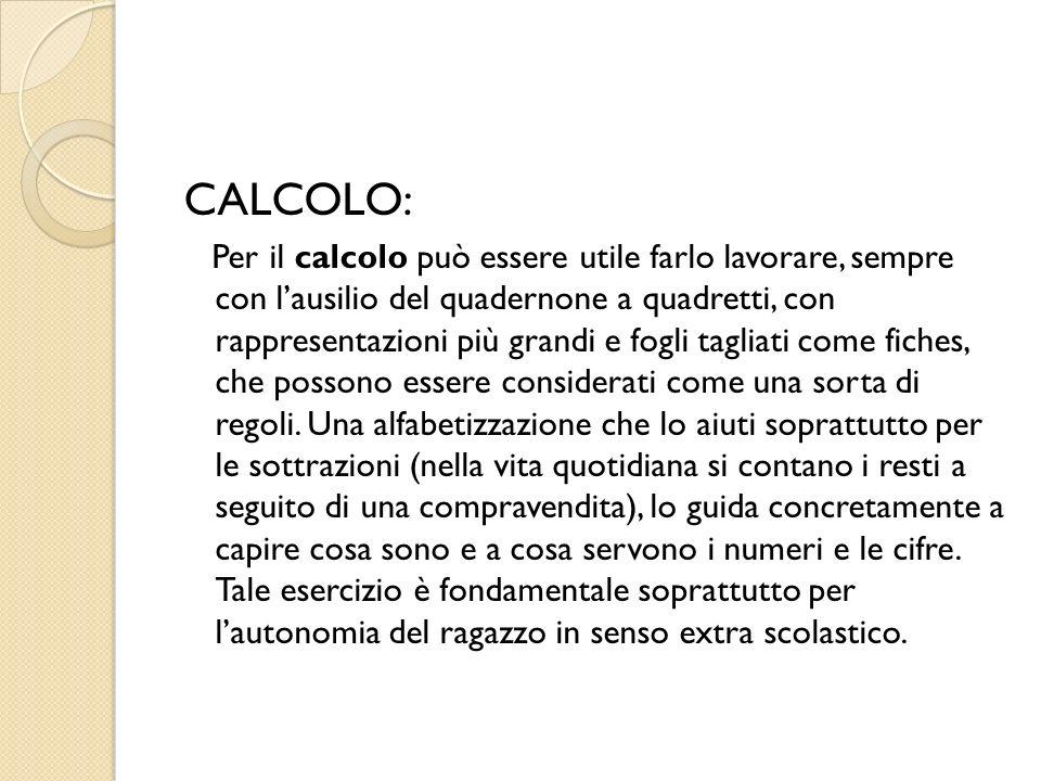 CALCOLO: Per il calcolo può essere utile farlo lavorare, sempre con lausilio del quadernone a quadretti, con rappresentazioni più grandi e fogli tagli