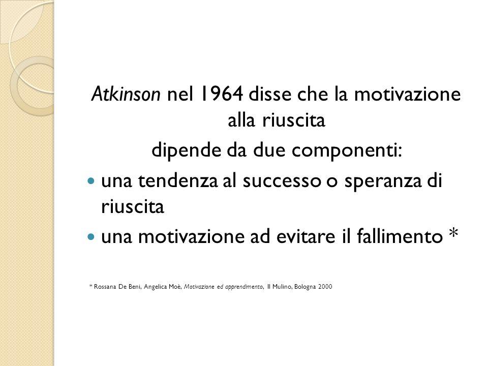 Atkinson nel 1964 disse che la motivazione alla riuscita dipende da due componenti: una tendenza al successo o speranza di riuscita una motivazione ad