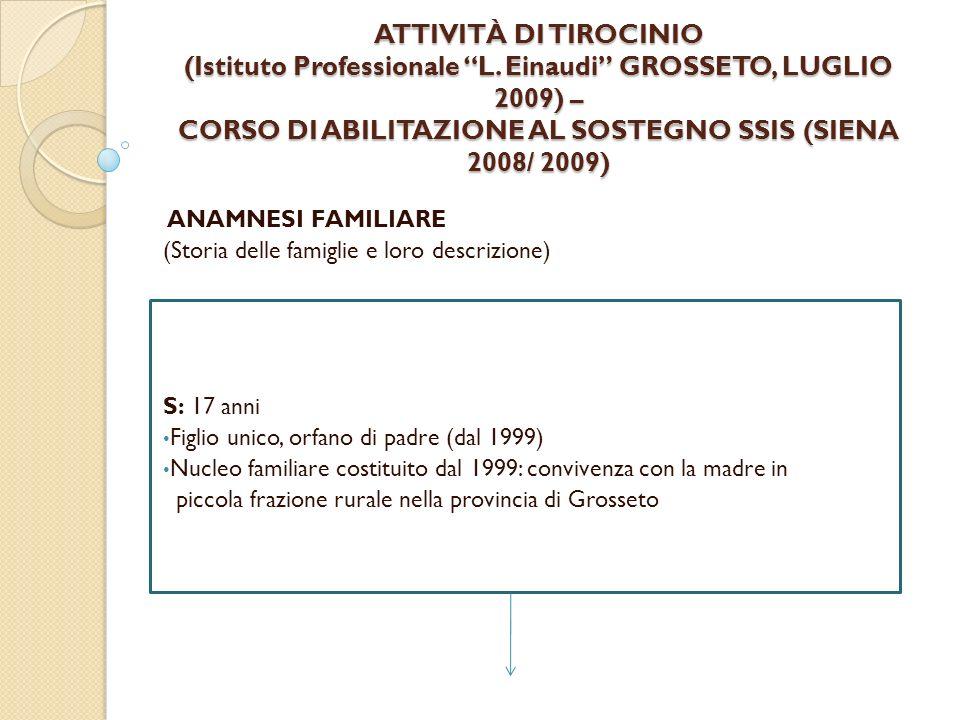 ATTIVITÀ DI TIROCINIO (Istituto Professionale L. Einaudi GROSSETO, LUGLIO 2009) – CORSO DI ABILITAZIONE AL SOSTEGNO SSIS (SIENA 2008/ 2009) ANAMNESI F