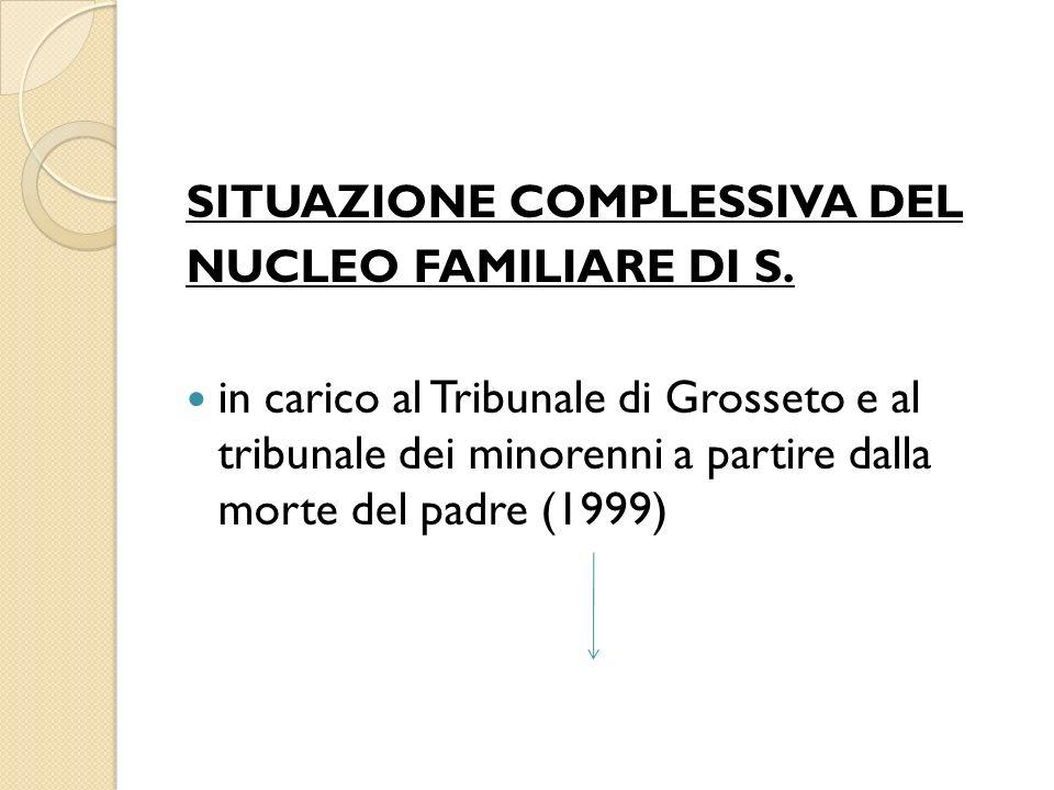 SITUAZIONE COMPLESSIVA DEL NUCLEO FAMILIARE DI S. in carico al Tribunale di Grosseto e al tribunale dei minorenni a partire dalla morte del padre (199