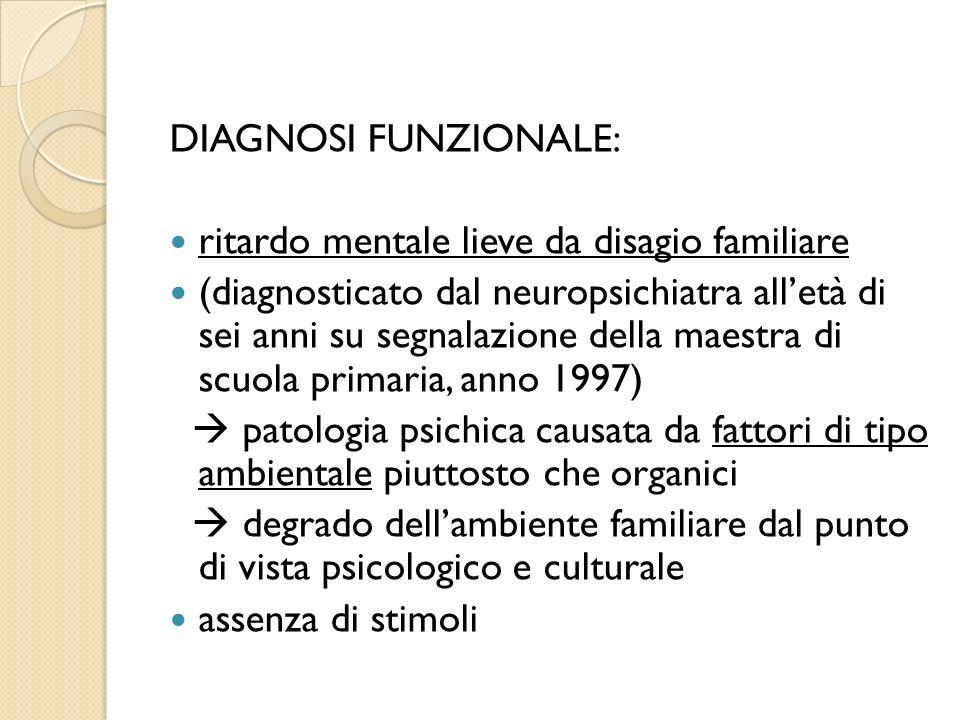 DIAGNOSI FUNZIONALE: ritardo mentale lieve da disagio familiare (diagnosticato dal neuropsichiatra alletà di sei anni su segnalazione della maestra di