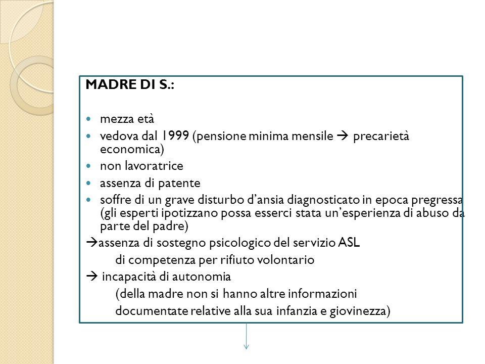 MADRE DI S.: mezza età vedova dal 1999 (pensione minima mensile precarietà economica) non lavoratrice assenza di patente soffre di un grave disturbo d