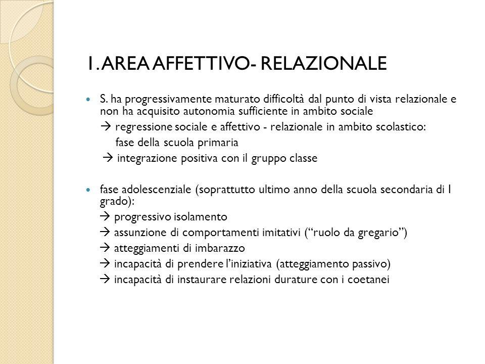1. AREA AFFETTIVO- RELAZIONALE S.