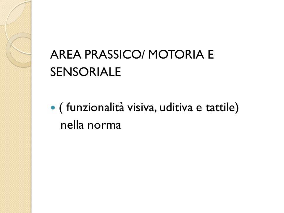 AREA PRASSICO/ MOTORIA E SENSORIALE ( funzionalità visiva, uditiva e tattile) nella norma