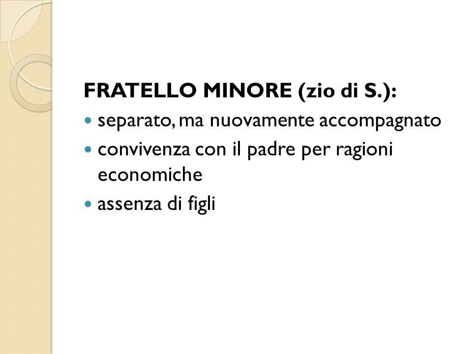 FRATELLO MINORE (zio di S.): separato, ma nuovamente accompagnato convivenza con il padre per ragioni economiche assenza di figli