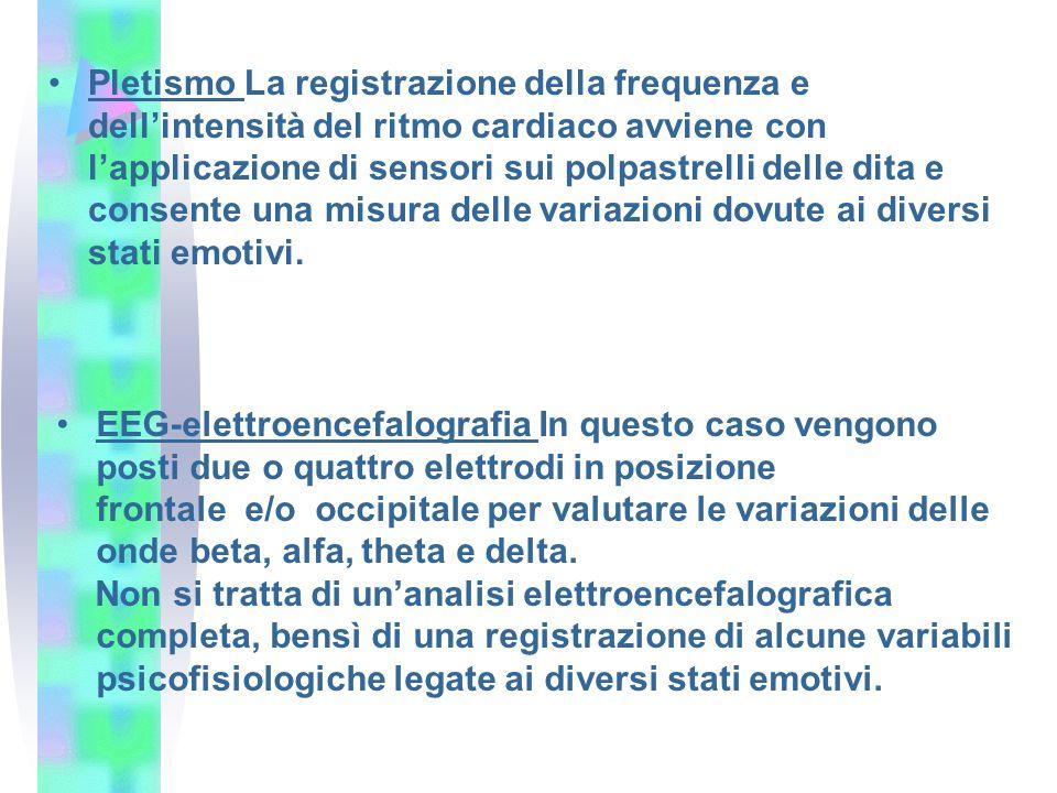 Pletismo La registrazione della frequenza e dellintensità del ritmo cardiaco avviene con lapplicazione di sensori sui polpastrelli delle dita e consen