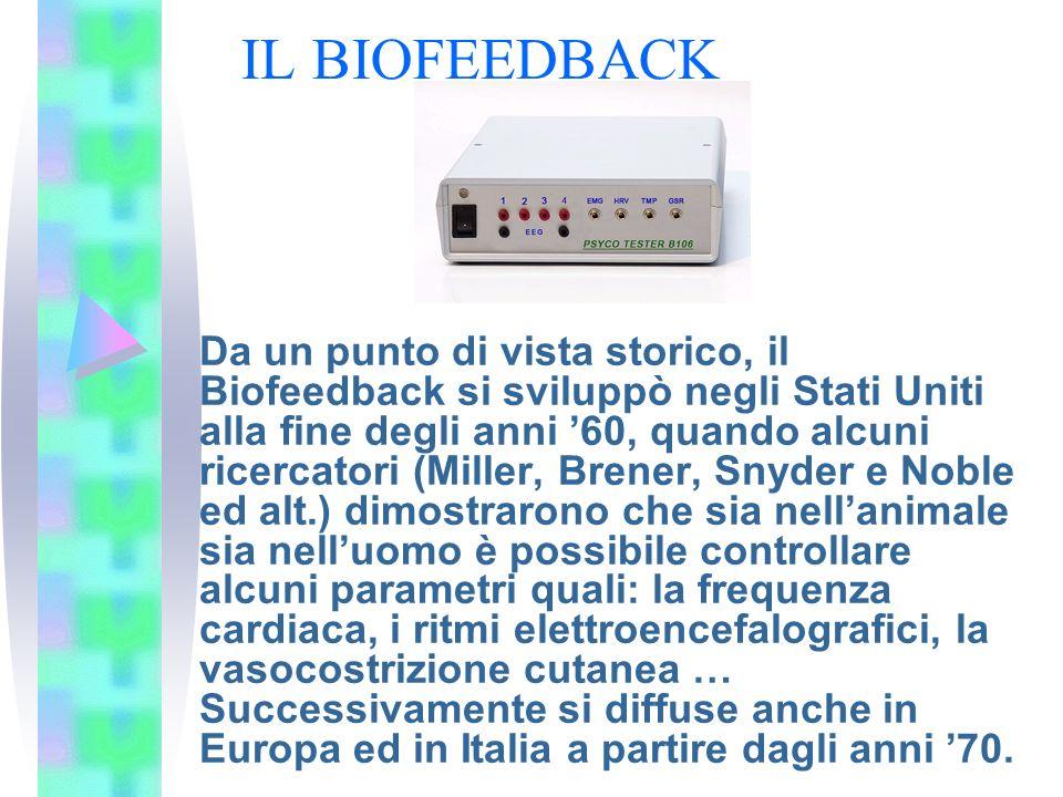IL BIOFEEDBACK Da un punto di vista storico, il Biofeedback si sviluppò negli Stati Uniti alla fine degli anni 60, quando alcuni ricercatori (Miller,
