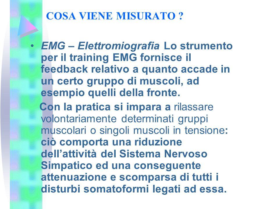 COSA VIENE MISURATO ? EMG – Elettromiografia Lo strumento per il training EMG fornisce il feedback relativo a quanto accade in un certo gruppo di musc