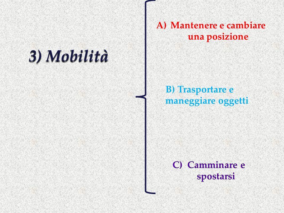 3) Mobilità A)Mantenere e cambiare una posizione B) Trasportare e maneggiare oggetti