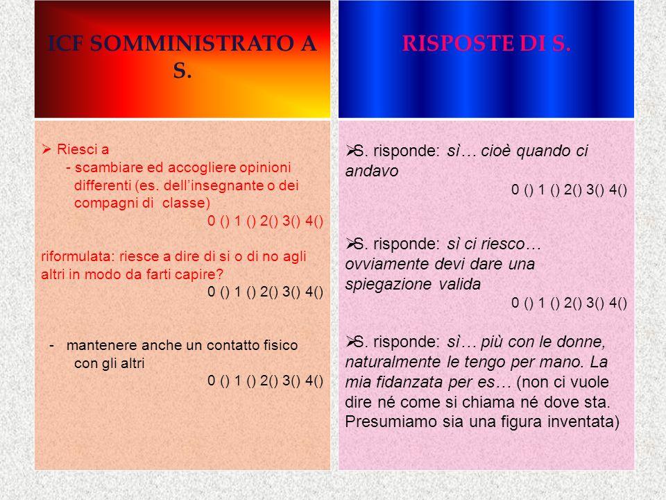 ICF SOMMINISTRATO A S. Riesci a - scambiare ed accogliere opinioni differenti (es. dellinsegnante o dei compagni di classe) 0 () 1 () 2() 3() 4() rifo