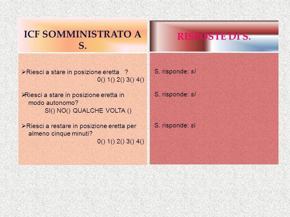 ICF SOMMINISTRATO A S. Riesci a stare in posizione eretta ? 0() 1() 2() 3() 4() Riesci a stare in posizione eretta in modo autonomo? SI() NO() QUALCHE