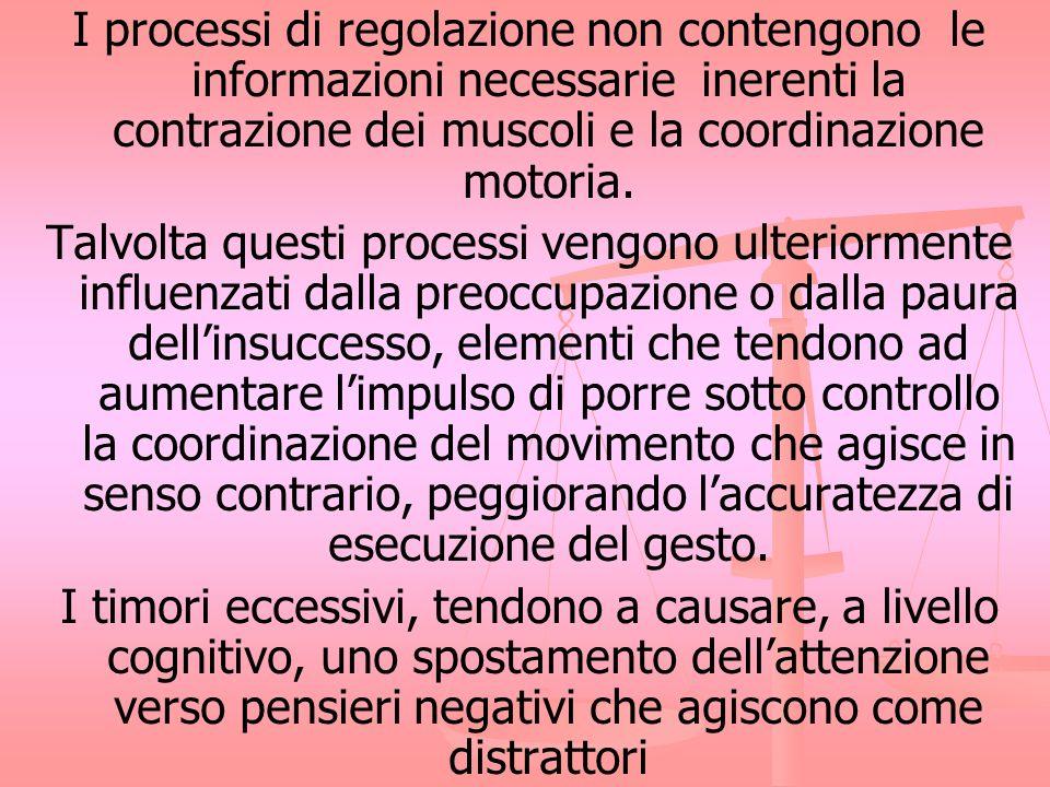 I processi di regolazione non contengono le informazioni necessarie inerenti la contrazione dei muscoli e la coordinazione motoria. Talvolta questi pr