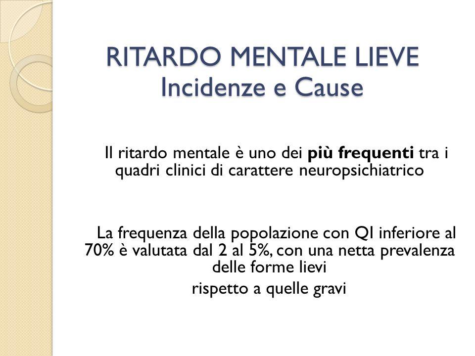 Il ritardo mentale è uno dei più frequenti tra i quadri clinici di carattere neuropsichiatrico La frequenza della popolazione con QI inferiore al 70%