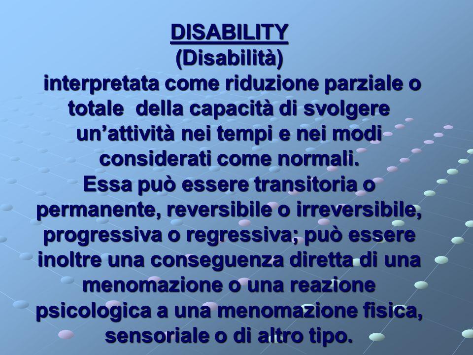 HANDICAP è una condizione di svantaggio risultante da un danno o da una disabilità, che limita o impedisce lo svolgimento di un ruolo normale in rapporto alletà,al sesso, ai fattori sociali e culturali.