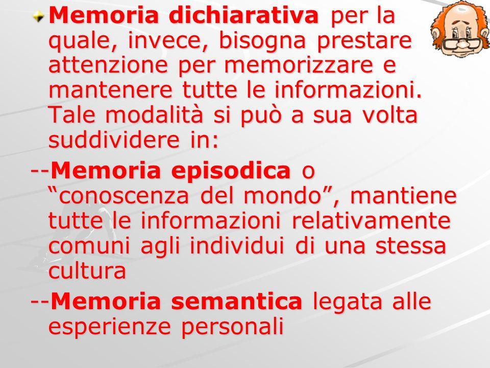 Memoria dichiarativa per la quale, invece, bisogna prestare attenzione per memorizzare e mantenere tutte le informazioni. Tale modalità si può a sua v
