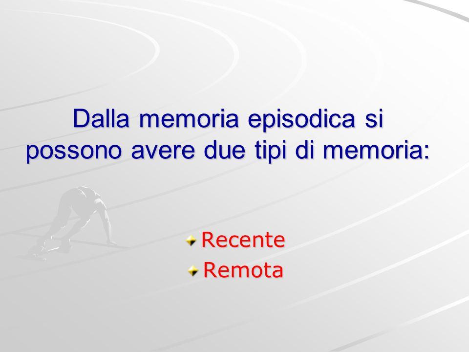 Dalla memoria episodica si possono avere due tipi di memoria: RecenteRemota