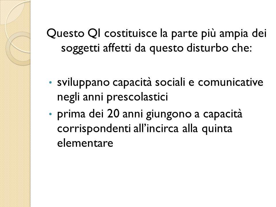 Questo QI costituisce la parte più ampia dei soggetti affetti da questo disturbo che: sviluppano capacità sociali e comunicative negli anni prescolast