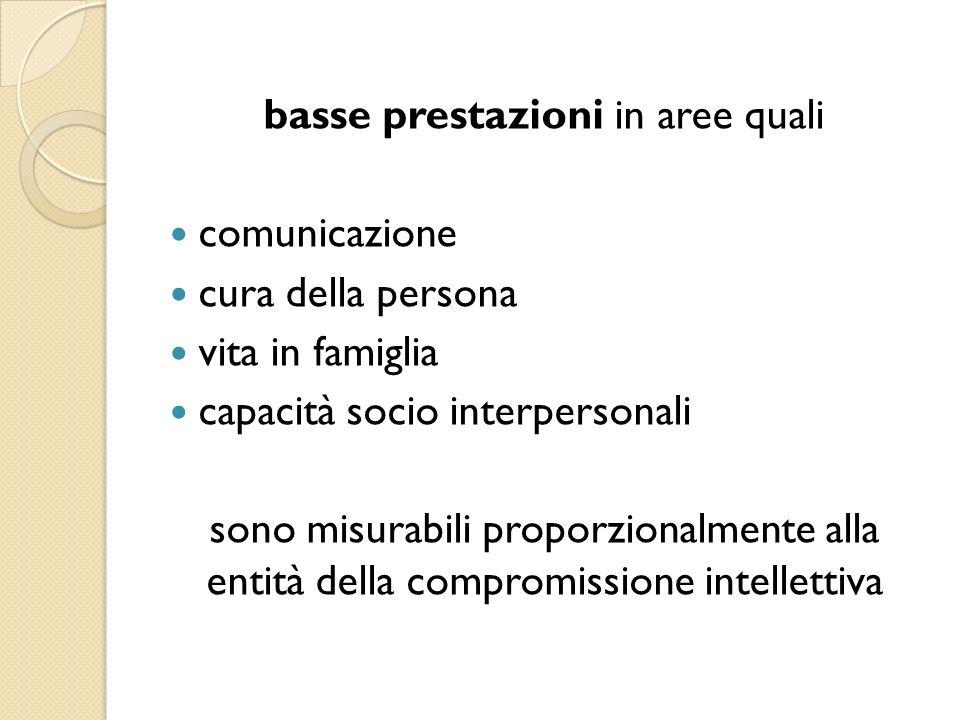 basse prestazioni in aree quali comunicazione cura della persona vita in famiglia capacità socio interpersonali sono misurabili proporzionalmente alla