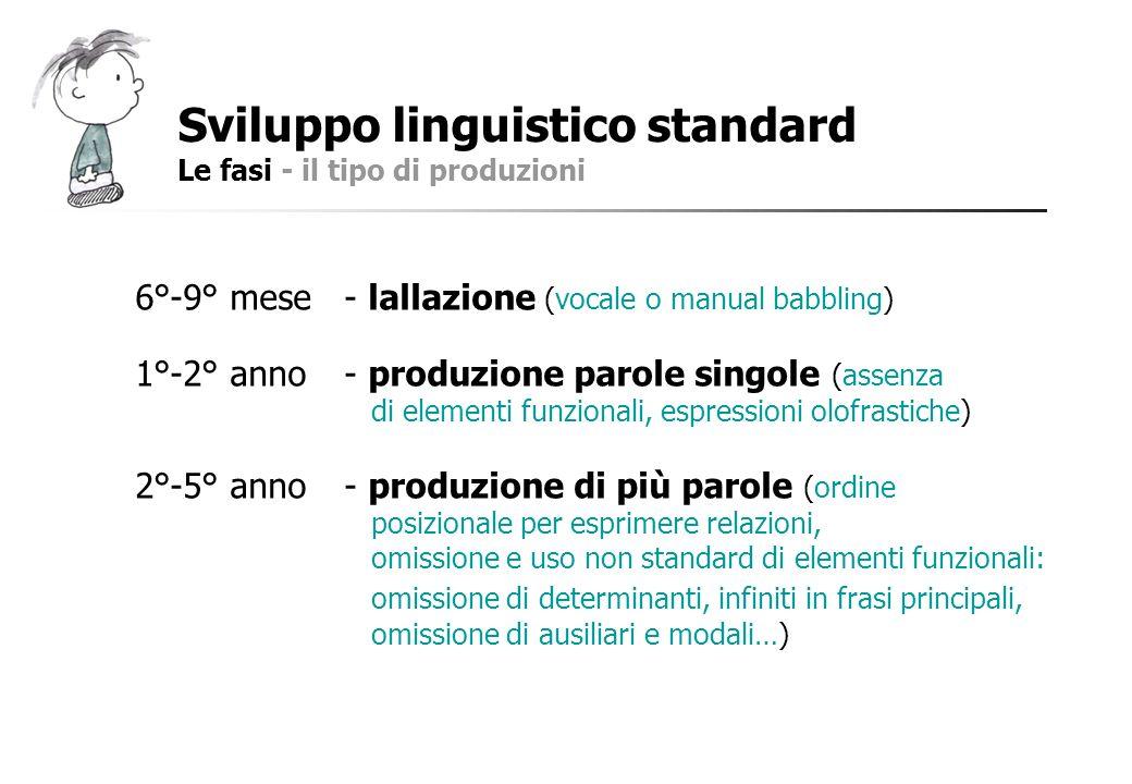 Sviluppo linguistico standard Le fasi - il tipo di produzioni 6°-9° mese- lallazione (vocale o manual babbling) 1°-2° anno- produzione parole singole
