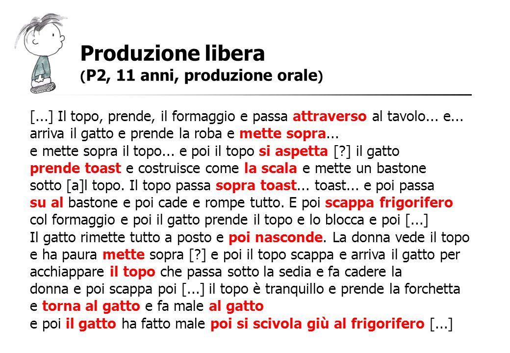 Produzione libera ( P2, 11 anni, produzione orale ) [...] Il topo, prende, il formaggio e passa attraverso al tavolo... e... arriva il gatto e prende