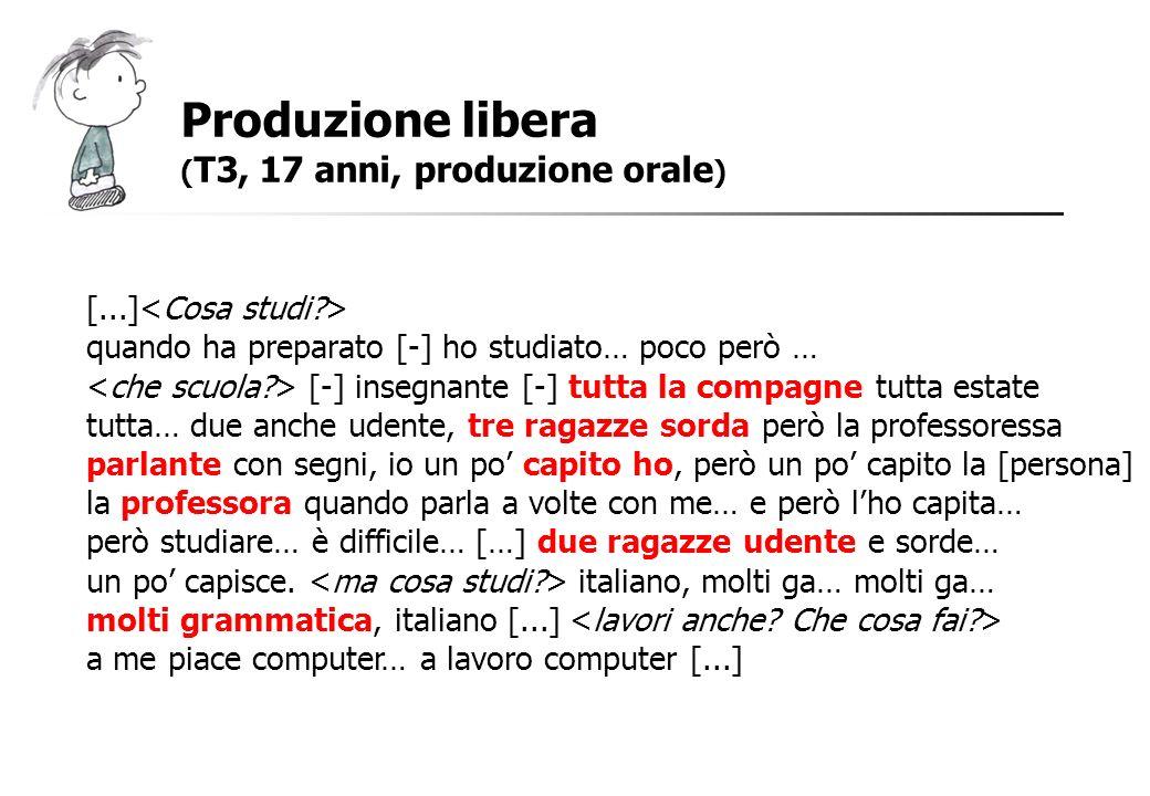 Produzione libera ( T3, 17 anni, produzione orale ) [...] quando ha preparato [-] ho studiato… poco però … [-] insegnante [-] tutta la compagne tutta