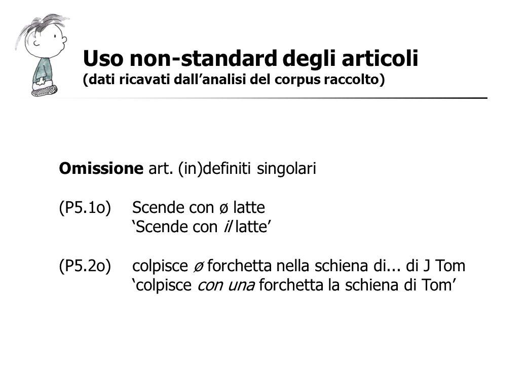 Uso non-standard degli articoli (dati ricavati dallanalisi del corpus raccolto) Omissione art. (in)definiti singolari (P5.1o)Scende con ø latte Scende