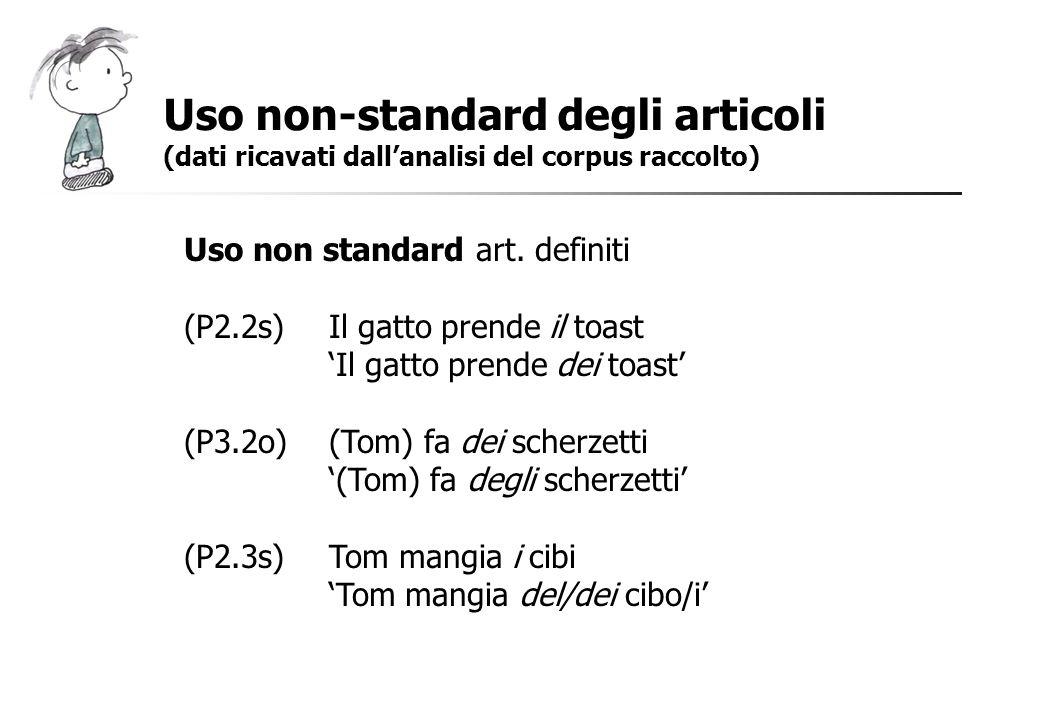 Uso non-standard degli articoli (dati ricavati dallanalisi del corpus raccolto) Uso non standard art. definiti (P2.2s)Il gatto prende il toast Il gatt