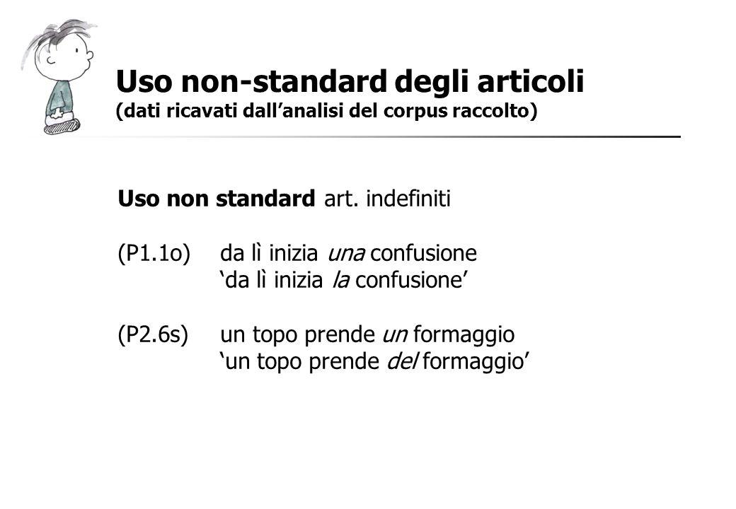 Uso non-standard degli articoli (dati ricavati dallanalisi del corpus raccolto) Uso non standard art. indefiniti (P1.1o)da lì inizia una confusione da