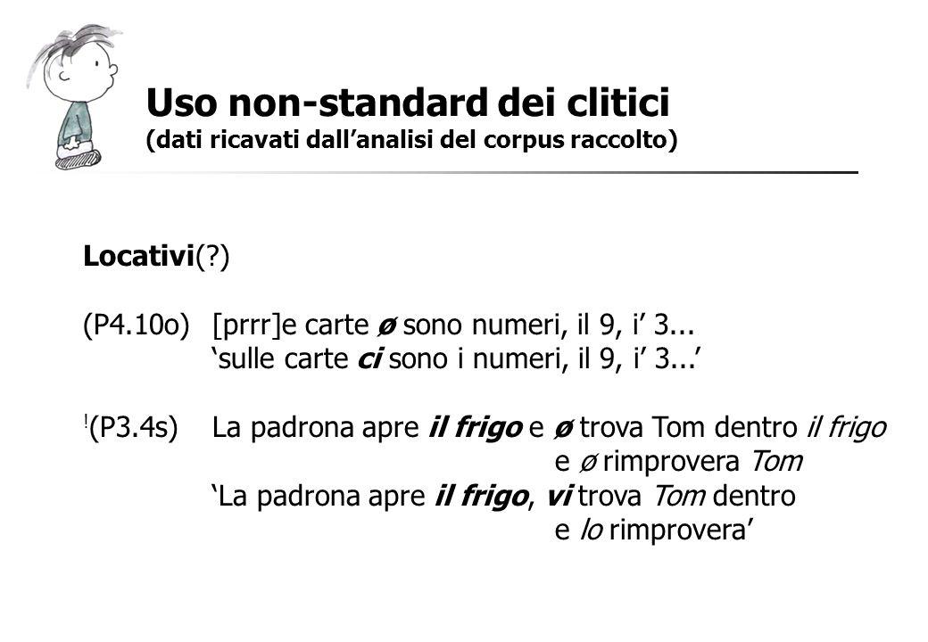 Uso non-standard dei clitici (dati ricavati dallanalisi del corpus raccolto) Locativi(?) (P4.10o)[prrr]e carte ø sono numeri, il 9, i 3... sulle carte