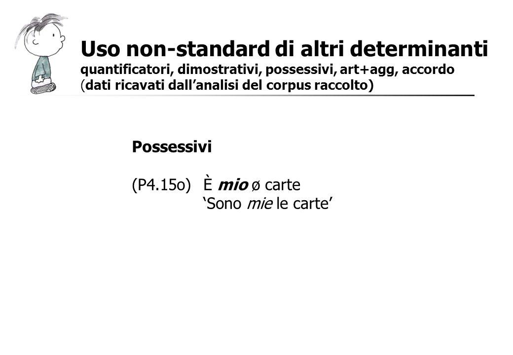 Possessivi (P4.15o)È mio ø carte Sono mie le carte Uso non-standard di altri determinanti quantificatori, dimostrativi, possessivi, art+agg, accordo (
