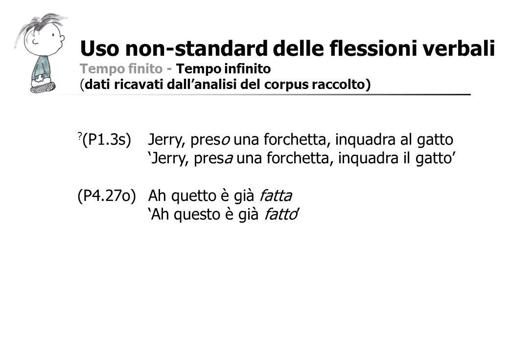 Uso non-standard delle flessioni verbali Tempo finito - Tempo infinito (dati ricavati dallanalisi del corpus raccolto) ? (P1.3s)Jerry, preso una forch