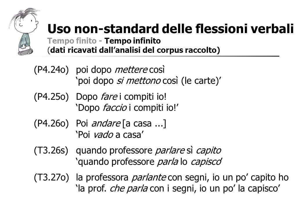 Uso non-standard delle flessioni verbali Tempo finito - Tempo infinito (dati ricavati dallanalisi del corpus raccolto) (P4.24o)poi dopo mettere così p