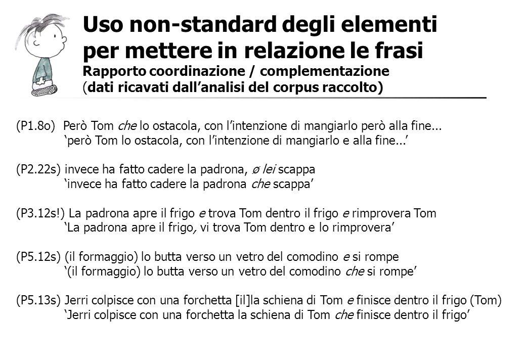 Uso non-standard degli elementi per mettere in relazione le frasi Rapporto coordinazione / complementazione (dati ricavati dallanalisi del corpus racc
