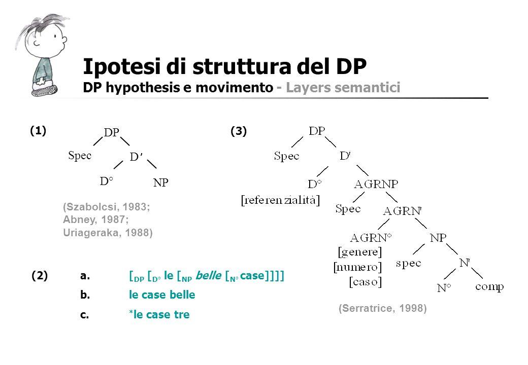 Ipotesi di struttura del DP DP hypothesis e movimento - Layers semantici (2)a.[ DP [ D° le [ NP belle [ N° case]]]] b.le case belle c. * le case tre D