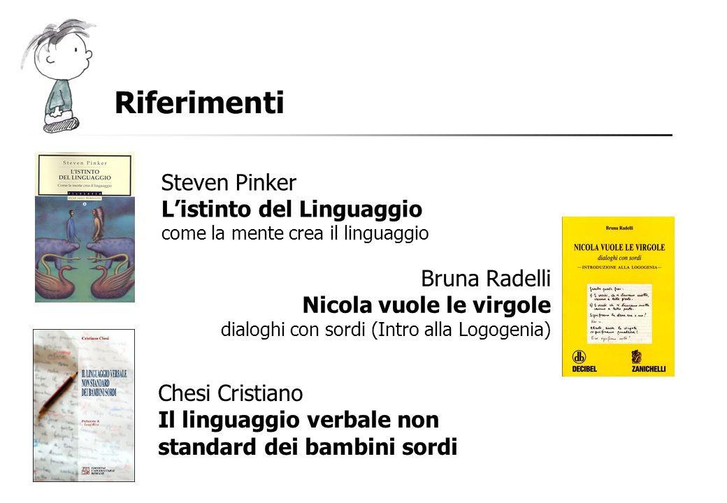 Riferimenti Steven Pinker Listinto del Linguaggio come la mente crea il linguaggio Bruna Radelli Nicola vuole le virgole dialoghi con sordi (Intro all