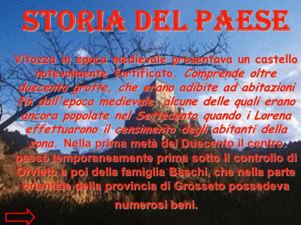 Storia del paese Vitozza in epoca medievale presentava un castello notevolmente fortificato. Comprende oltre duecento grotte, che erano adibite ad abi