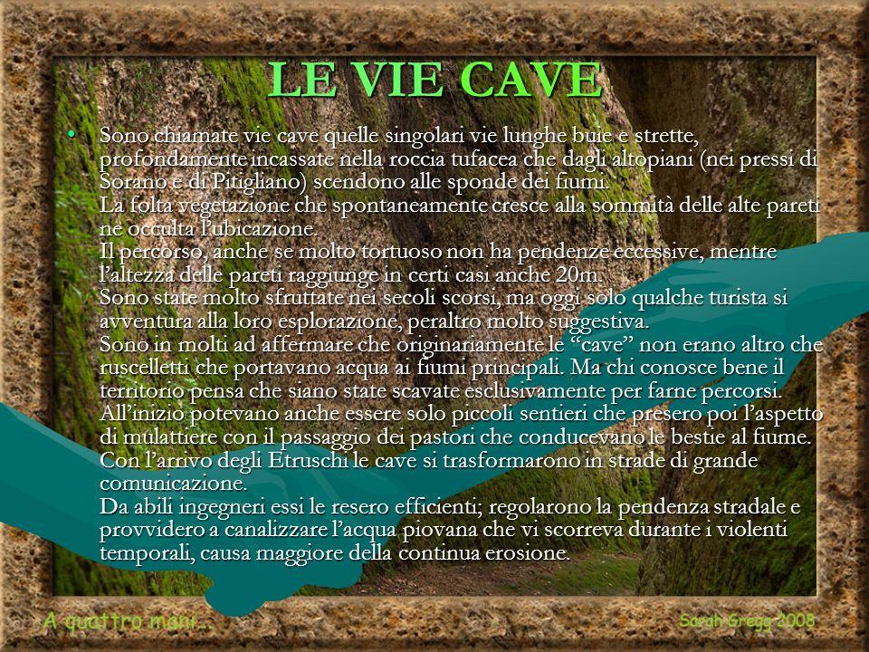LE VIE CAVE Sono chiamate vie cave quelle singolari vie lunghe buie e strette, profondamente incassate nella roccia tufacea che dagli altopiani (nei pressi di Sorano e di Pitigliano) scendono alle sponde dei fiumi.