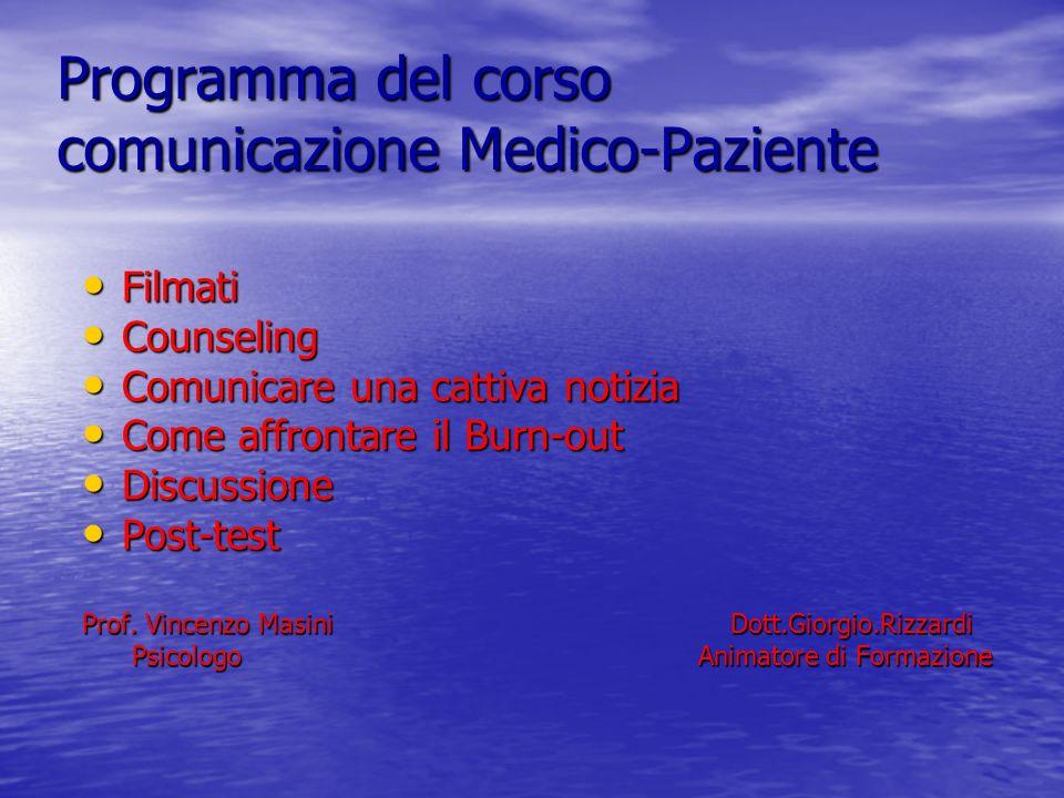 Programma del corso comunicazione Medico-Paziente Filmati Filmati Counseling Counseling Comunicare una cattiva notizia Comunicare una cattiva notizia