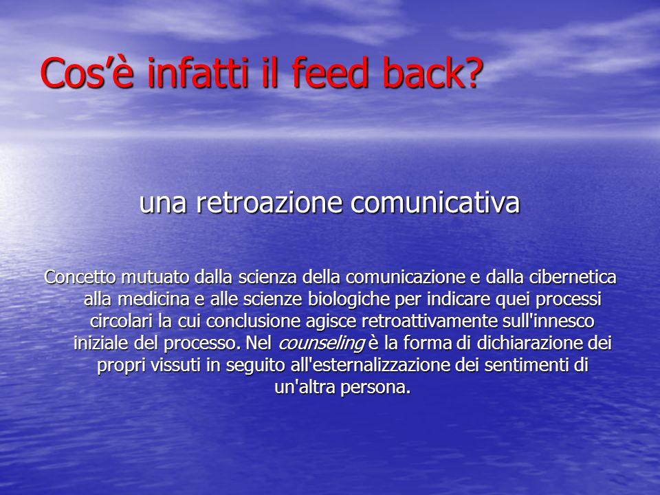 Cosè infatti il feed back? una retroazione comunicativa Concetto mutuato dalla scienza della comunicazione e dalla cibernetica alla medicina e alle sc