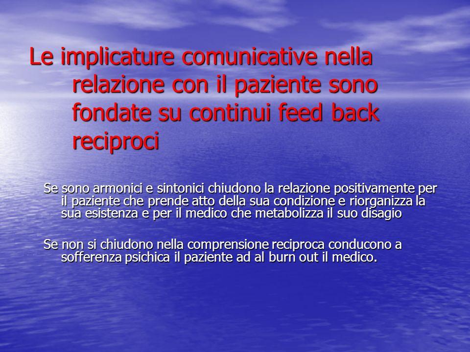 Le implicature comunicative nella relazione con il paziente sono fondate su continui feed back reciproci Se sono armonici e sintonici chiudono la rela