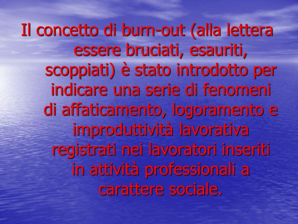 Il concetto di burn-out (alla lettera essere bruciati, esauriti, scoppiati) è stato introdotto per indicare una serie di fenomeni di affaticamento, lo