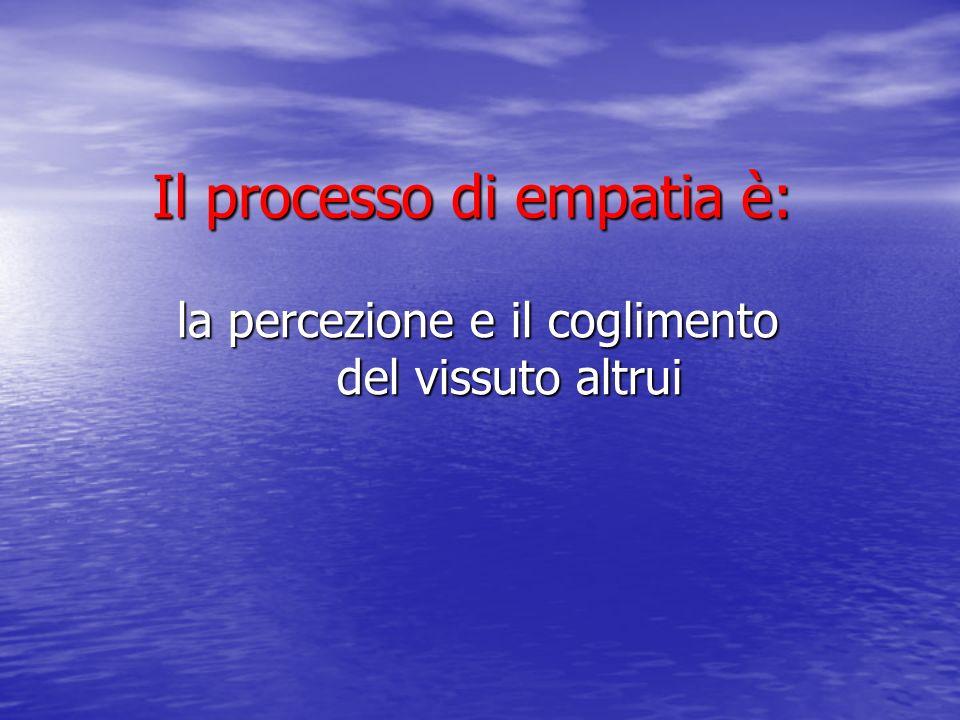 Il processo di empatia è: la percezione e il coglimento del vissuto altrui