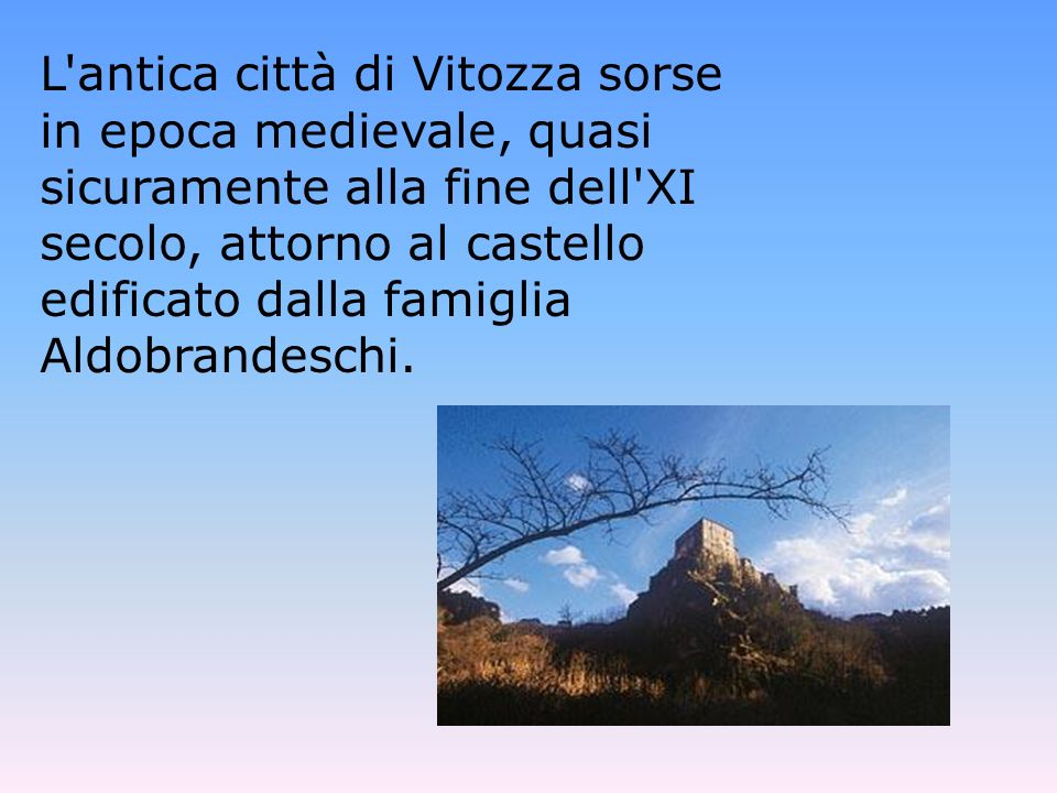 L'antica città di Vitozza sorse in epoca medievale, quasi sicuramente alla fine dell'XI secolo, attorno al castello edificato dalla famiglia Aldobrand