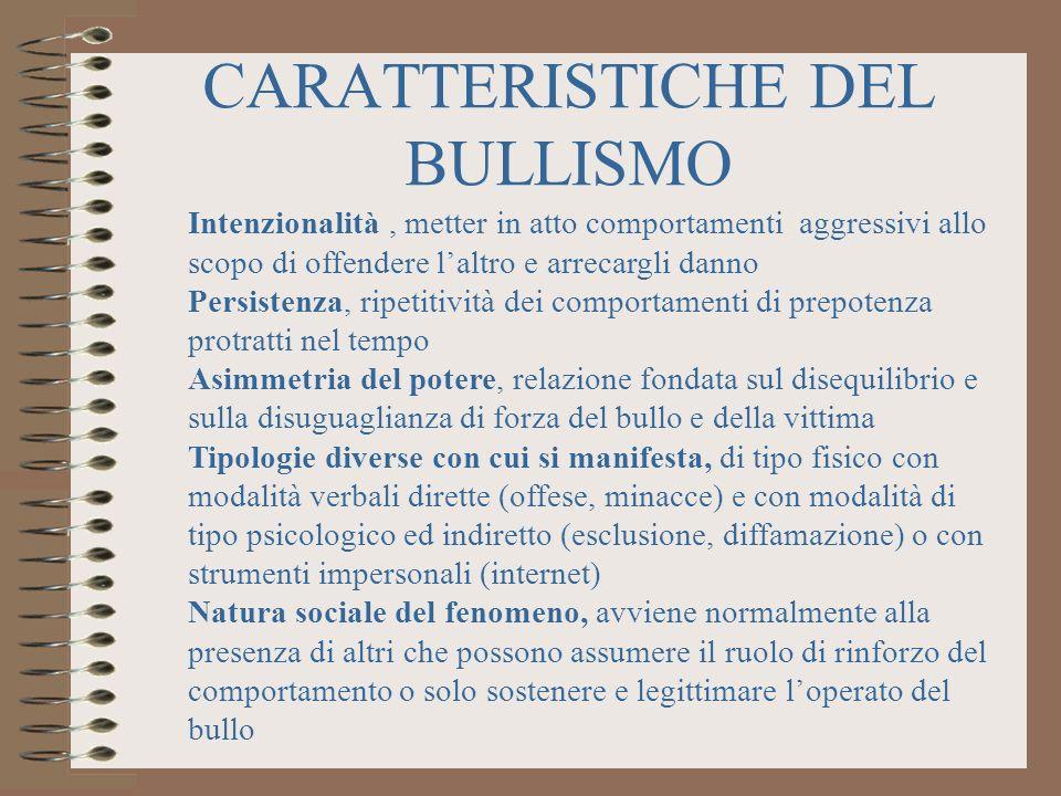 CARATTERISTICHE DEL BULLISMO Intenzionalità, metter in atto comportamenti aggressivi allo scopo di offendere laltro e arrecargli danno Persistenza, ri