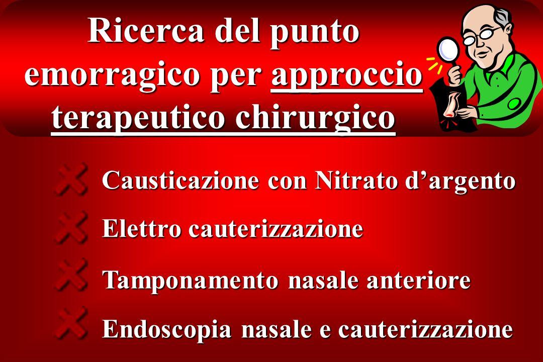 Ricerca del punto emorragico per approccio terapeutico chirurgico Causticazione con Nitrato dargento Elettro cauterizzazione Tamponamento nasale anter