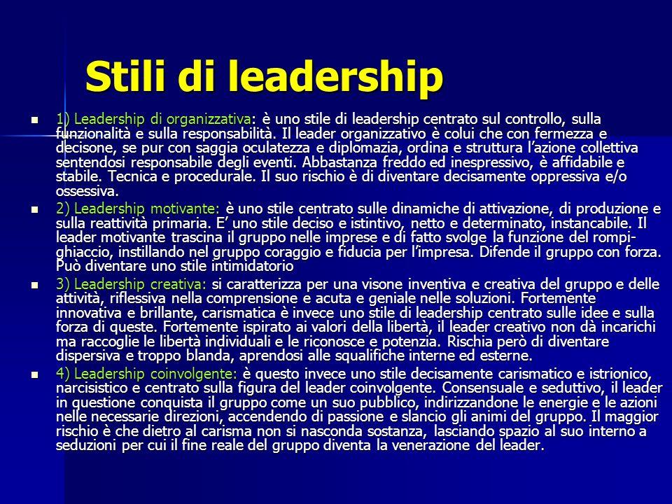 Stili di leadership 1) Leadership di organizzativa: è uno stile di leadership centrato sul controllo, sulla funzionalità e sulla responsabilità. Il le