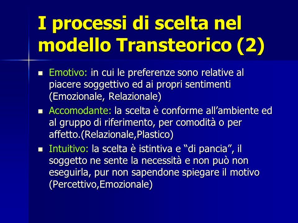 I processi di scelta nel modello Transteorico (2) Emotivo: in cui le preferenze sono relative al piacere soggettivo ed ai propri sentimenti (Emozional