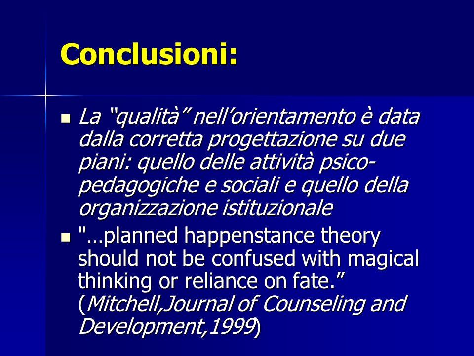 Conclusioni: La qualità nellorientamento è data dalla corretta progettazione su due piani: quello delle attività psico- pedagogiche e sociali e quello