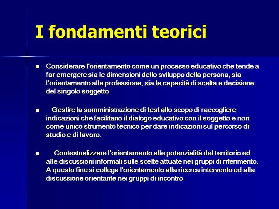 I fondamenti teorici Considerare l'orientamento come un processo educativo che tende a far emergere sia le dimensioni dello sviluppo della persona, si
